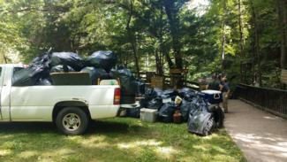 Cumberland Falls Cleanup 2020 trash